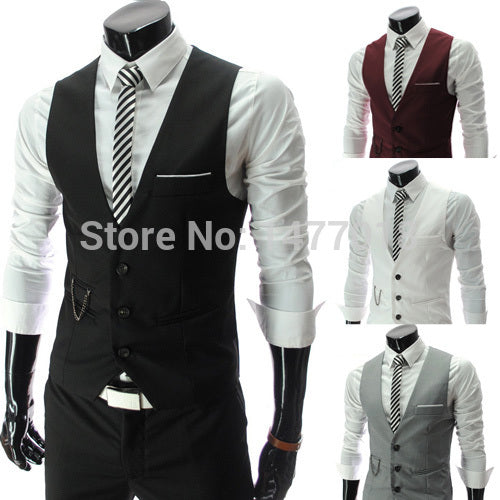 2017 New Arrival Dress Vests For Men Slim Fit Mens Suit Vest Male Waistcoat Gilet Homme Casual Sleeveless Formal Business Jacket