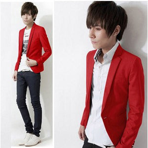 2017 New Arrive Men XL XXL XXXL Solid Color Single Button Leisure Suit Korean Fashion Slim Fit Casual Blazer Red Pink White Blue