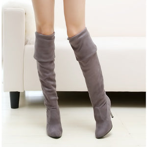 2017 New Big Size 34-43 Womens High Heel Boots Over the Knee High Boots for Sexy Lady Fashion Shoes Knight Boots Free Shipping