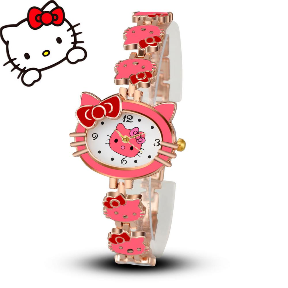 2017 New Brand Hello Kitty Cartoon Watches Women Children Dress Quartz Wristwatch Kids Hellokitty Watches Girls Montre Enfant