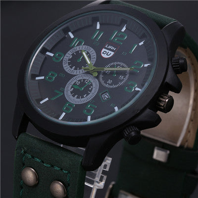 2017 New Business Quartz watch Men sport Military Watches Men Corium Leather Strap army wristwatch clock hours Complete Calendar