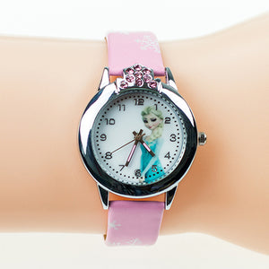 2017 New Cartoon Children' Watch Cute Princess Elsa Crystal Wristwatch Fashion Girls Kids leather Quarts Watches Sports Clock