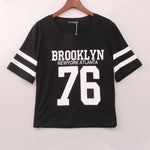2017 New Fashion Crop Top T-shirt Women BROOKLYN 76 Printed Printing T Shirt Women Cropped Tops Tee Shirt Femme Woman Clothing