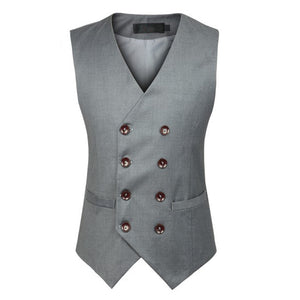 2017 New Fashion Double Breasted Slim Chaleco Sleeveless Cotton Waistcoat Suit Vest Male Dress Vest MWB218
