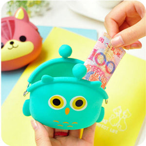 2017 New Fashion Lovely Kawaii Candy Color Cartoon Animal Women Girls Wallet Multicolor Jelly Silicone Coin Bag Purse Kid Gift