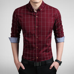 2017 New Fashion Mens Plaid Shirt Cotton High Quality Dress Shirts Men Casual Slim Fit Long Sleeve Shirt Social Men Clothes 5XL