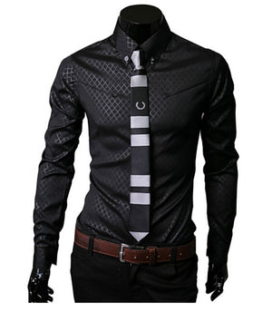 2017 New Fashion Mens Stripes Dress Shirts Casual Slim Long sleeve Shirts Fit Social Camisas Masculinas for Man Chemise homme