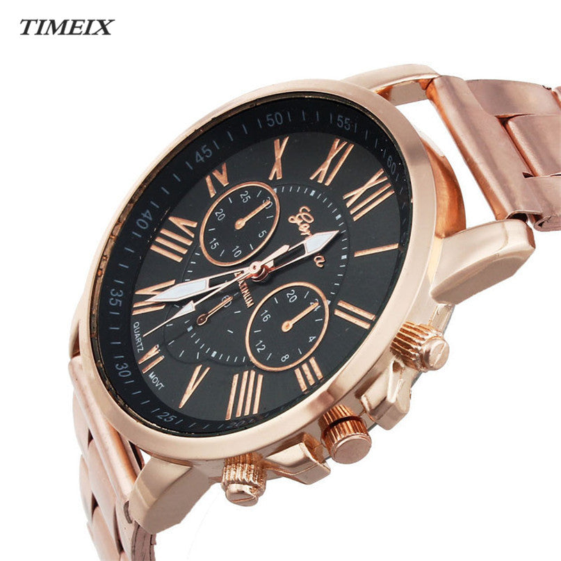 2017 New Geneva Watch Men Women Roman Number Stainless Steel Quartz Watches Casual Sports Dial Wrist Watches Dropshipping*40