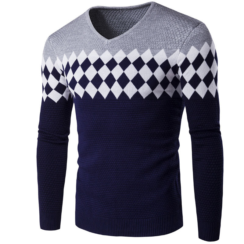 2017 New Male Brand Sweaters Stylish Diamond Lattice Knitted Men Long Sleeve Sweater Men V-Neck Sweater Mens Sweaters Pullover V