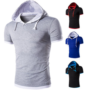 2017 New Men Tshirt Hooded Tees Hot Sale Summer Cool Design T-Shirt Homme Fitness Fashion Brand Clothing Male T Shirt Plus