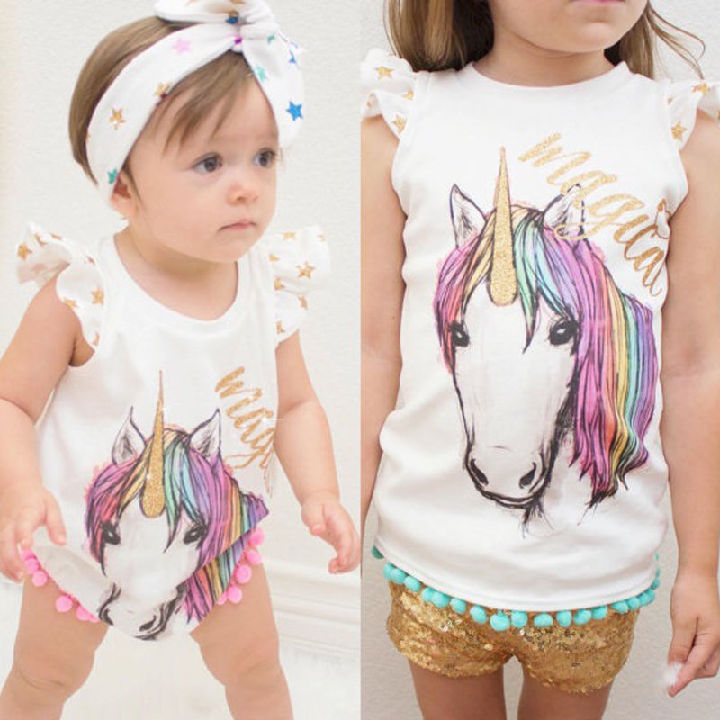 2017 New Sisters Match Clothes Cute Toddler Kids Girls T-shirt Horse Print Baby Little Sister Bodysuit Romper Outfits Clothing