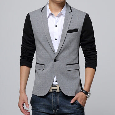 2017 New Slim Fit Mens Casual Jacket Single Button Cotton Blazer Jacket Men Classic Gray Mens Suit Jacket Patchwork Coat Men 6XL