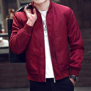 2017 New Spring Autumn Men's Jackets Thin Solid Fashion Coats Male Casual Slim Stand Collar Bomber Jacket Men Overcoat 4XL