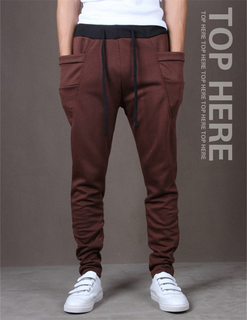 2017 New Trend Men Casual Pants High Quality Hip Hop Harem Outwear Pants Big Pockets Solid Sweatpants 8 Colors Mens Joggers