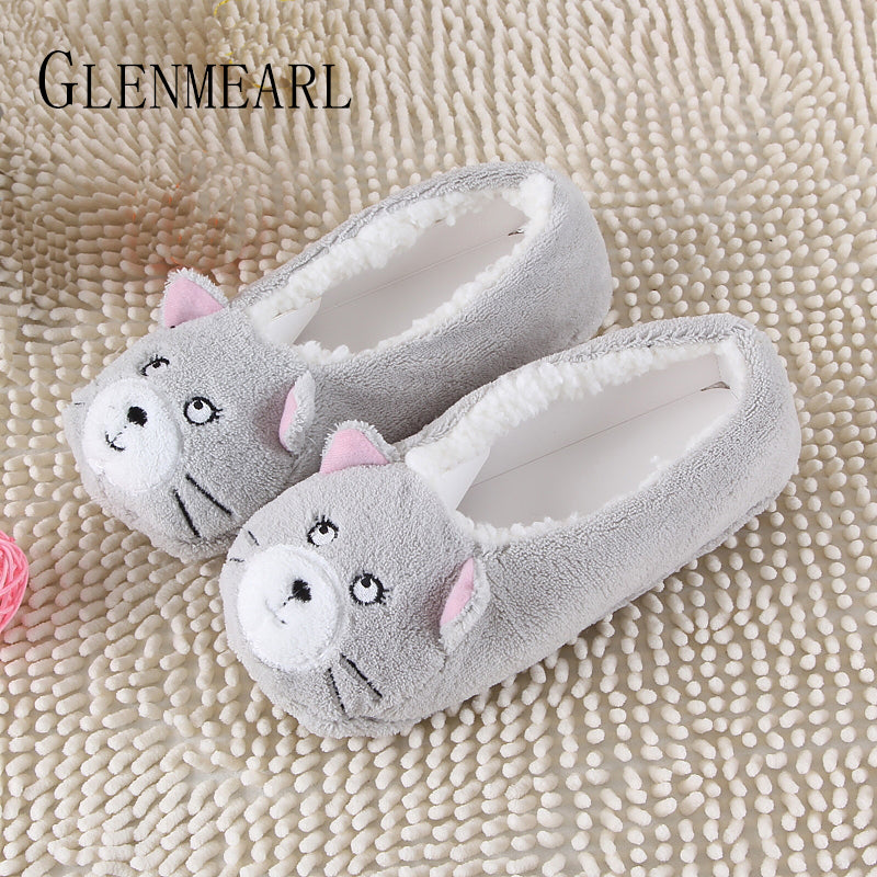 2017 New Warm Flats Soft Sole Women Indoor Floor Slippers/Shoes Animal Shape White Gray Cows Pink Flannel Home Slippers 6 Color