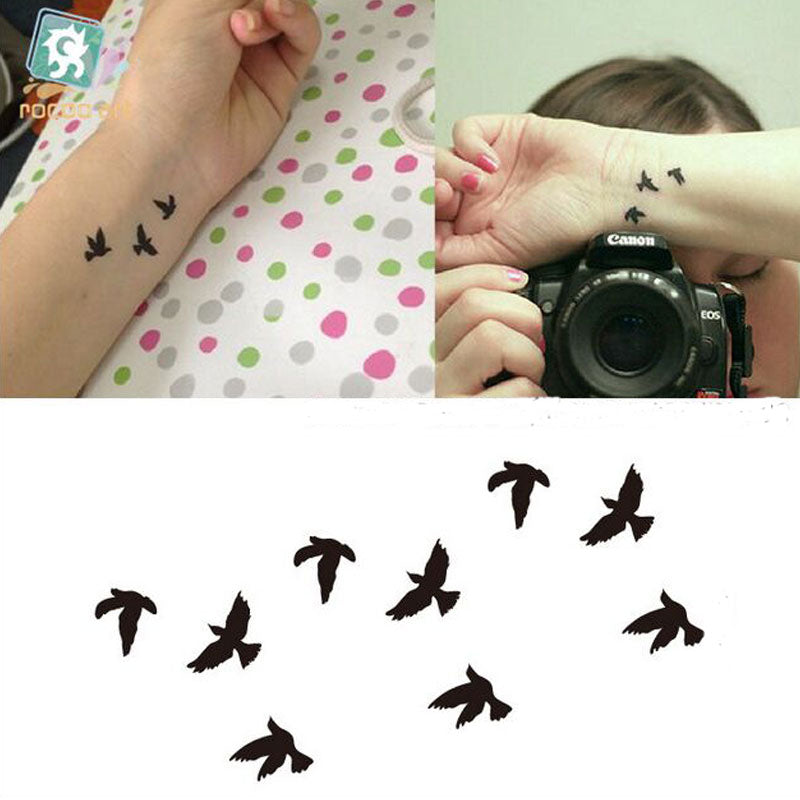 2017 New Women Sexy Finger Wrist Flash Fake Tattoo Stickers Liberty Small Birds Fly Design Waterproof Temporary Tattoos Sticker
