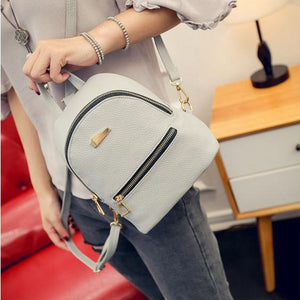 2017 New Women's Backpacks Brand Design Fashion Black High Quality Leather Backpack Travel For School Bags Teenage Girl Rucksack