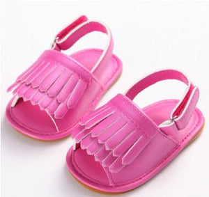 2017 New designs floral Double Tassel Pu leather Baby moccasins child Summer girls sandals hard sole Infant shoes Hot sale