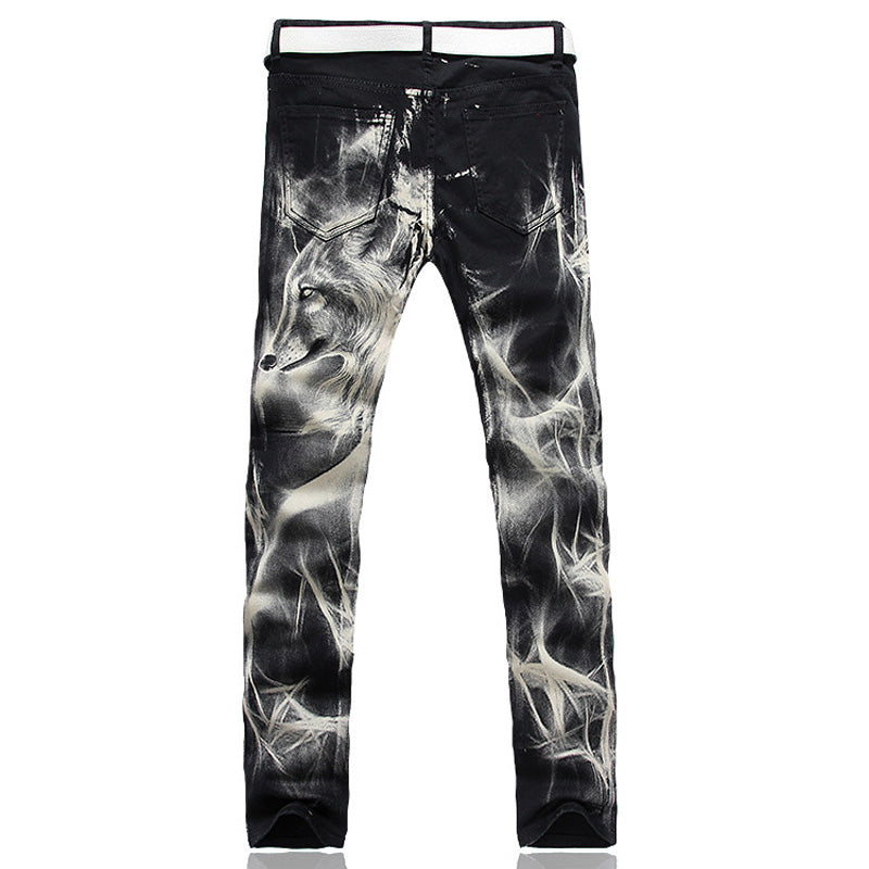 2017 New fashion Men's wolf printed jeans men slim straight Black stretch jeans high quality designer pants nightclubs singers