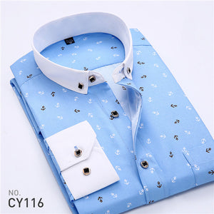2017 Retro Floral Printed Man Casual Shirts Fashion Classic Men Dress Shirt Breathable Men's Long Sleeve Brand Clothing YN552