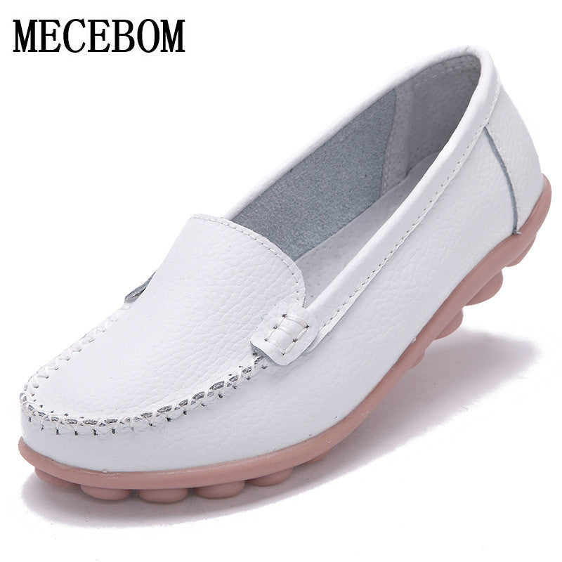 2017 Shoes Woman Leather Women Shoes Flats Colors footwear Loafers Slip On Women's Flat Shoes Moccasins Plus Size 1189w