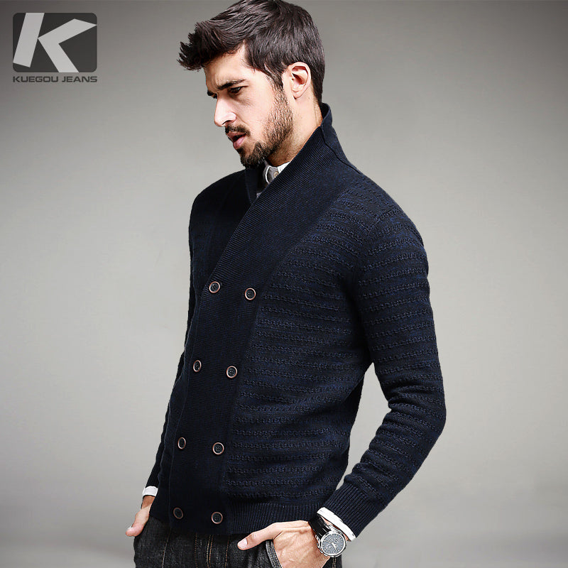 2017 Spring Mens Fashion Sweaters 100% Cotton Striped Blue Knitted Cardigan Knitting Brand Clothing Man's Knitwear Sweatercoats