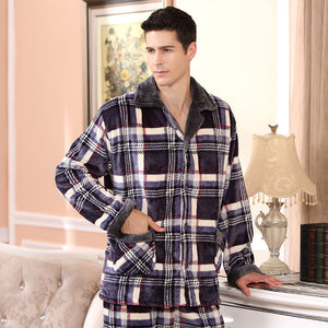 2017 Spring Winter Thick Coral Fleece Men Pajamas Sets of Sleep Tops & Bottoms Male Flannel Warm Sleepwear Thermal Home Clothing