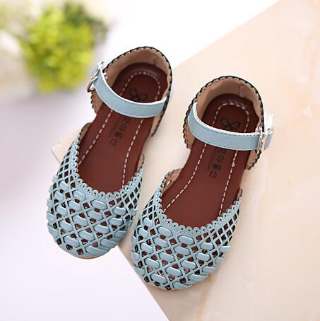 2017 Summer Girls Sandals Korean Cut-outs Princess Baby Toddler Girl Sandals Kids Casual Flat Shoes For Girl Size 21-35