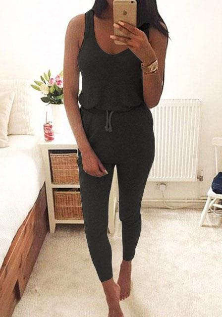 2017 Summer Low Cut Rompers Womens Jumpsuit Black Elastic Waist Sleeveless Long Pants Playsuit Strap Pocket Female Overalls