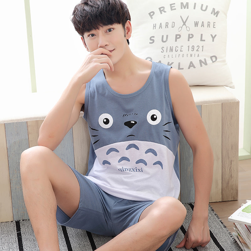 2017 Summer Men's Pajamas Cotton Sleeveless Sleep Tank & Shorts Suit Male Sexy Home Animal Pijama Sleepwear Casual Two Piece Set