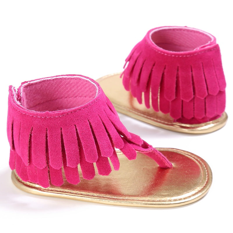 2017 Summer Toddler Newborn Baby Girl Shoes Tassel Summer Shoes Anti-slip Flip Flop Prewalker For Baby Girls 0-18M
