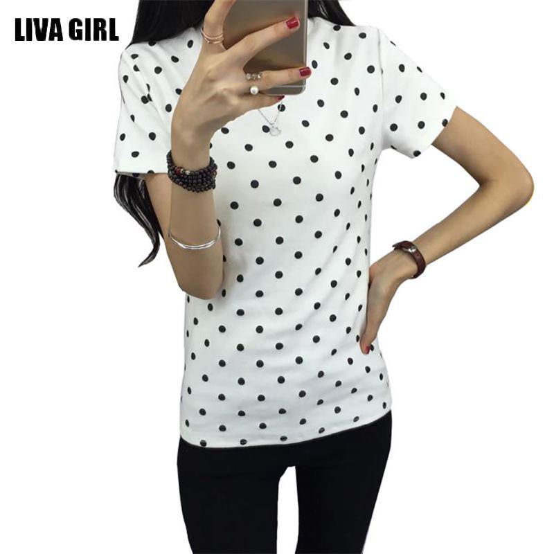 2017 Summer Women's T-Shirt Polka Black Dotted Clothes Shirt O-neck Short Tops Bottoming Tops Tees