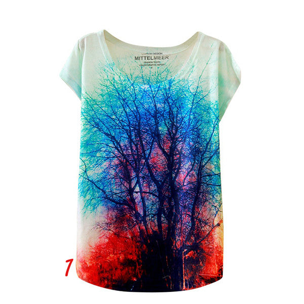 2017 T-shirt Fashion Summer Animal Cat Print Shirt O-Neck Short Sleeve T Shirt Women Tops