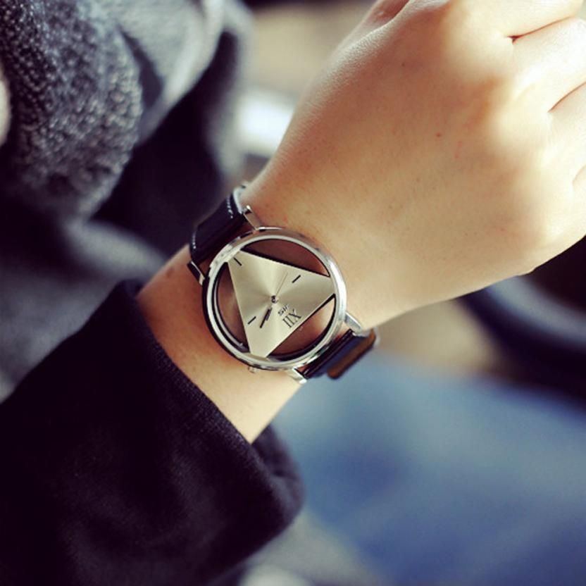 2017 Women Analog Quartz Unique Hollowed-out Triangular Dial Fashion Watch Time Clock Lady Gift Relogio Feminino Levert Dropship