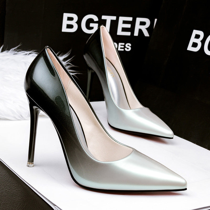 2017 Women pumps Fashion gradient color High heels single shoes female Spring Summer patent leather wedding party shoes woman