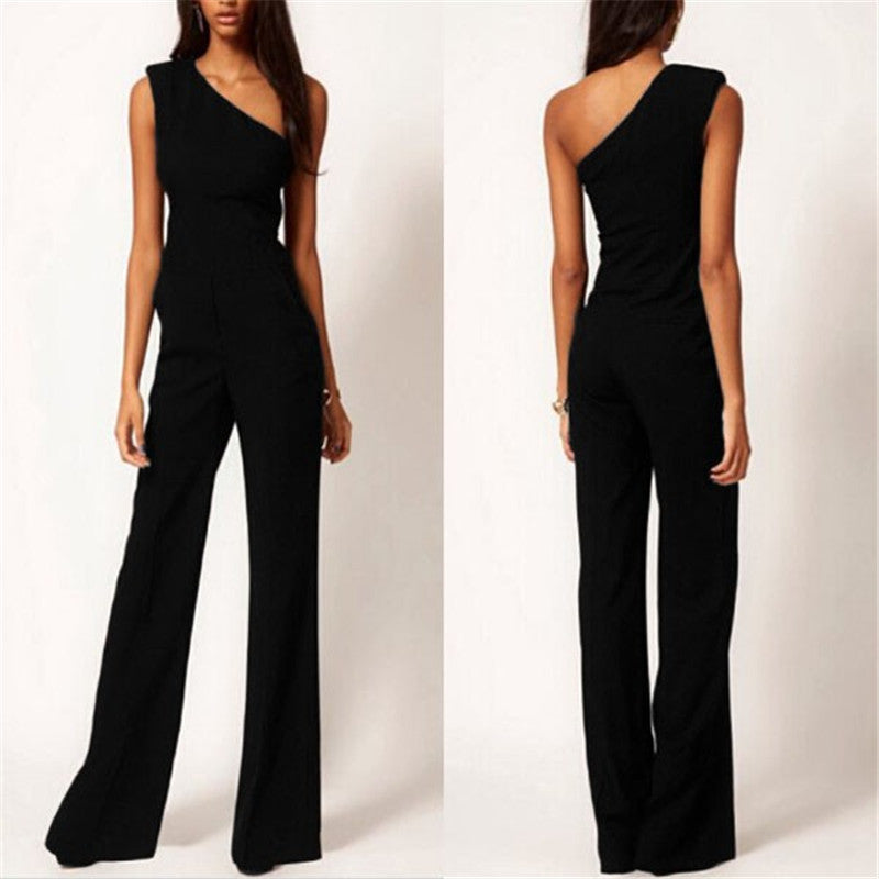 2017 Womens Off One Shoulder Jumpsuit Romper Black OL Workwear Sexy Sleeveless Long Pant Playsuit Femme Casual Overall Trouser