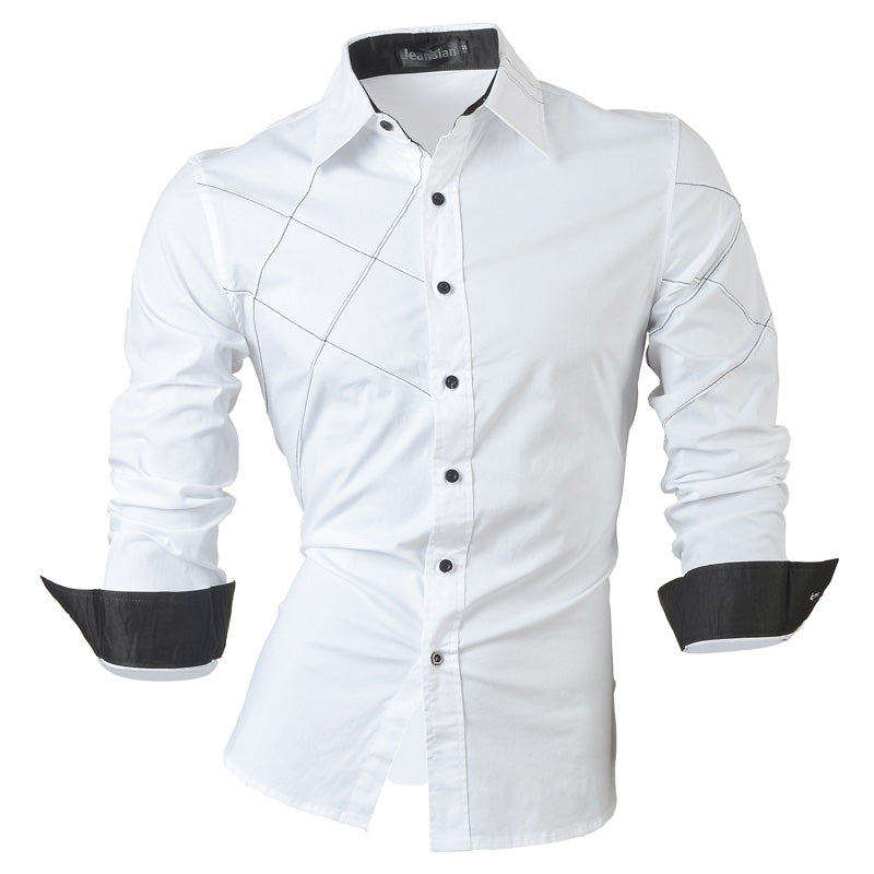2017 casual shirts dress male mens clothing long sleeve social slim fit brand boutique cotton western button white black t 2028