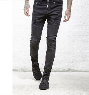 2017 clothing designer pants slp blue/black destroyed mens slim denim straight biker skinny jeans men ripped jeans 28-38