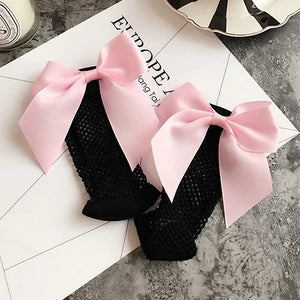 2017 fashionable 7-color net socks followed by big bow tie socks, sub-grid and small grid