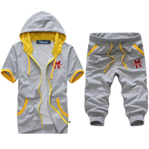 2017 new arrivals men's sporting suit short sleeve tracksuits hoodies and shorts 4 colors M-XXL AYG246