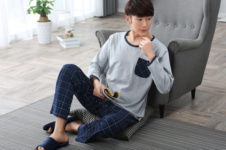 2017 no brand fashion men shipping cloth 100%cotton o-neck collar long grey coat and blue plaid pants free shipping