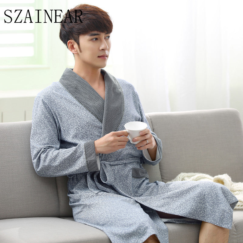 2017 no brand new arrival fashion cloth 100%cotton men sleeping robes free shipping comfortable and fashion