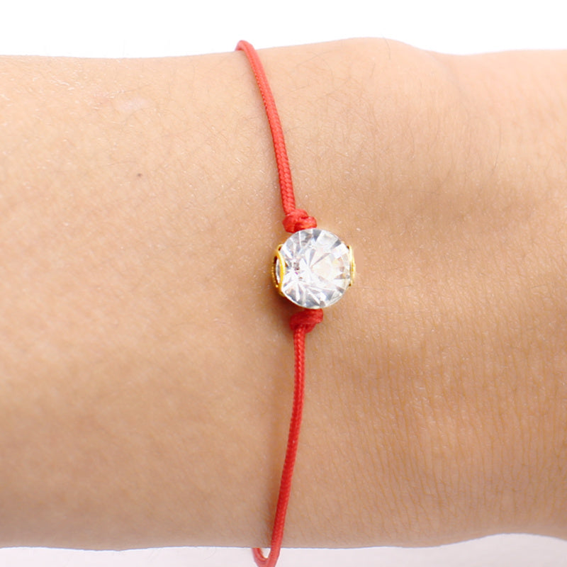 2017 simple Red Thread string Bracelet bangle Jewelry for women setting Crystal Zircon thin Bauble rope lucky Lobster Charm