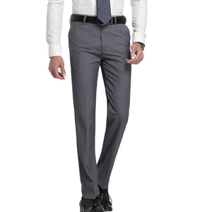 2017 slim fit Summer Business men formal suit pants wedding bridegroom trousers 28~40 gray and black color