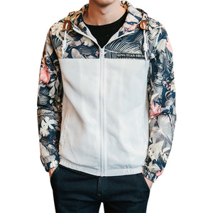 2017 spring autumn Fashion casual Hooed Floral Jacket male Windbreaker zipper Slim Patchwork mens jackets and coats 4XL