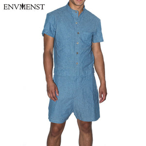 2017 summer New fashion short sleeves jumpsuit Men Comfortable shorts rompers For Boy Cotton&Linen Sets Casual party overalls