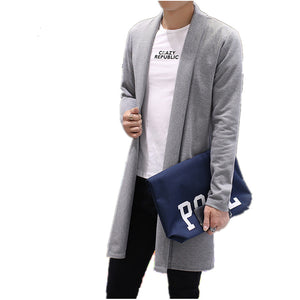2017 the spring autumn fashion brand men's pure color long thin cardigan sweater/thin body big size sweater cardigan/size S-5XL