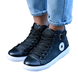 2018 Men Shoes Sapatos Tenis Masculino Male Autumn Winter Front Lace-Up Leather Ankle Boots Shoes Man Casual High Top Canvas Men