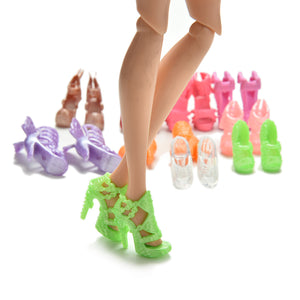 20Pcs/Lot Color Random Fashion Fixed Styles Doll Shoes Bandage Bow High Heel Sandals for Barbie Dolls Accessories Toys Wholesale