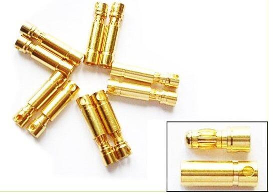 20pcs/lot 3.5mm Gold Bullet Banana Connector Plug For ESC Battery Motor (10 pair)